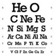 Snellen Chart - Chemical Abundance In Universe Art Print