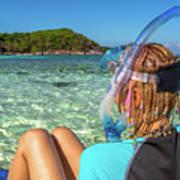 Snorkeler Relaxing On Tropical Beach Art Print