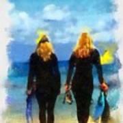 Snorkeler Twins  Art Print