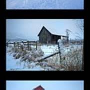 Snow And Barn Trio Art Print