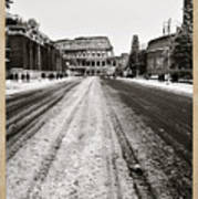 Snow At The Colosseum - Rome Art Print