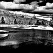 Snow At The River - Bw Art Print
