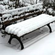 Snow Bench Art Print