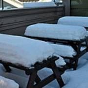 Snow Benches Art Print