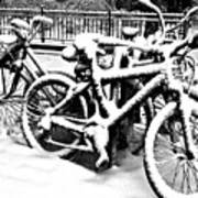 Snow Bicycles Art Print