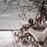 Snow Covered Farming Equipment Art Print