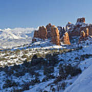 Snow-covered Fins And La Sal Mountains Art Print