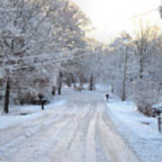 Snow Covered Lane In Paint Art Print