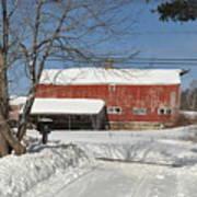 Snow Covered Masachussetts Barn Art Print