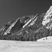 Snow Dusted Flatirons Boulder Co Panorama Bw Art Print