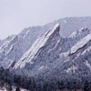 Snow Dusted Flatirons Boulder Colorado Art Print