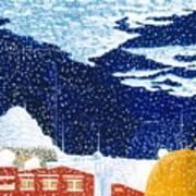 snow falling on Istanbul Art Print