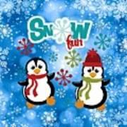 Snow Fun Penguins Art Print