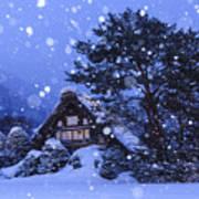 Snow, Historic Villages Of Shirakawa, Japan Art Print