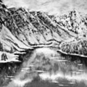 Snow In November Black And White Art Print