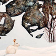 Snow Ledges Rabbit Art Print