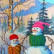 Snow Mom And Son Art Print