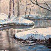 Snow On Riverbank Art Print