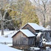 Snow On The Mill Art Print