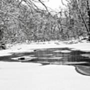 Snow On The Stream Art Print