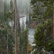 Snow On The Yellowstone River Art Print