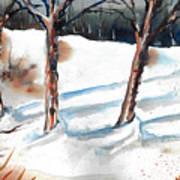 Snow Orchard Art Print