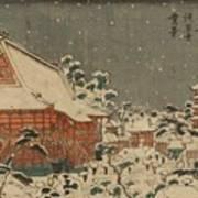 Snow Scene At Sens Ji Temple At Kinry Zan In The Eastern Capital Art Print