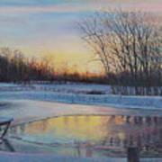 Snow Scene At Sunset Art Print