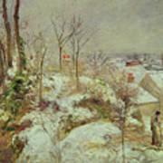 Snow Scene Print by Camille Pissarro
