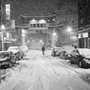 Snow Storm In Chinatown Boston Chinatown Gate Black And White Art Print