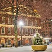 Snow Storm In Faneuil Hall Quincy Market Boston Ma Art Print