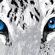 Snow Tiger's Soul In Blue Art Print