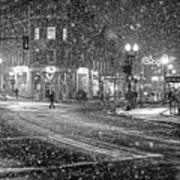 Snowfall In Harvard Square Cambridge Ma 2 Black And White Art Print