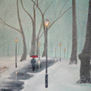 Snowfall In The Park Art Print