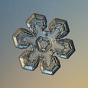 Snowflake Photo - Massive Gold Art Print by Alexey Kljatov