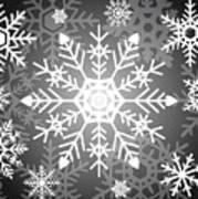 Snowflakes Black And White Art Print