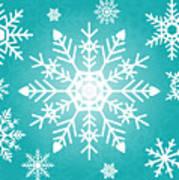 Snowflakes Green And White Art Print