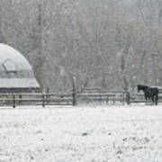 Snowing At The Round Barn Art Print