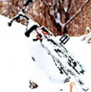 Snowing On The Bicycle Art Print