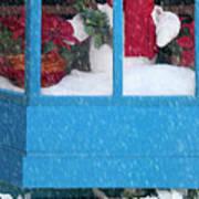 Snowman And Poinsettias - Frosty Christmas Art Print