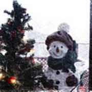 Snowman And Tree Pa Art Print