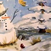 Snowman Hug Art Print