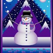 Snowman Juggler Art Print