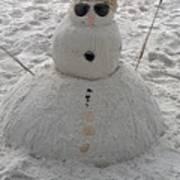 Snowman On The Beach Art Print