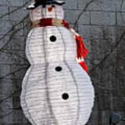 Snowman On The Roof Art Print