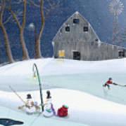Snowmen On Hockey Pond Art Print