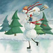 Snowmen Skating Art Print