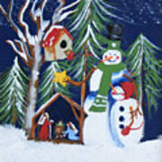 Snowmen With Creche Art Print