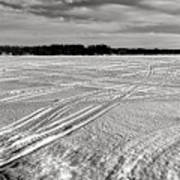 Snowmobile Tracks On China Lake Art Print