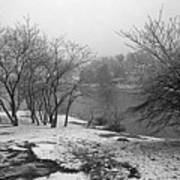 Snowy Day On Redd's Pond And Old Burial Hill Art Print